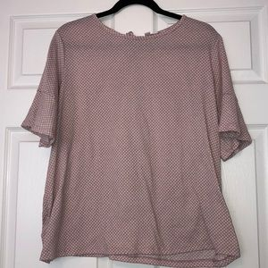 LAUREN CONRAD BLOUSE PERIWINKLE PINK WITH WHITE